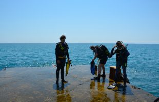 Active leisure in the company. Diving in Crimea (Mishor, 2013)