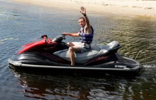 Active leisure in the company. Riding a jet ski (2018)